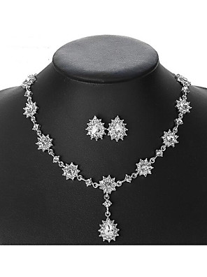 cheap Cocktail Dresses-Women's Crystal Bridal Jewelry Sets Transparent Pear Vintage Elegant Earrings Jewelry White For Wedding Party 1 set