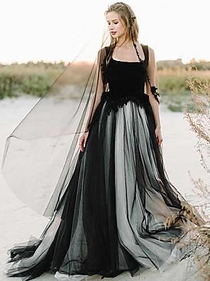 cheap Wedding Dresses-A-Line Wedding Dresses Scoop Neck Court Train Lace Tulle Regular Straps Black Modern with Appliques 2020