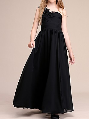 cheap Evening Dresses-A-Line One Shoulder Ankle Length Chiffon Junior Bridesmaid Dress with Appliques / Ruching