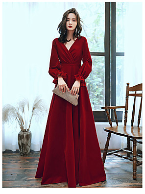 cheap Bridesmaid Dresses-A-Line Elegant Wedding Guest Prom Formal Evening Dress V Neck Long Sleeve Floor Length Satin Jersey with 2020