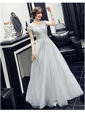 cheap Evening Dresses-A-Line Elegant Grey Wedding Guest Prom Formal Evening Dress Jewel Neck Short Sleeve Floor Length Satin Tulle with Beading 2020