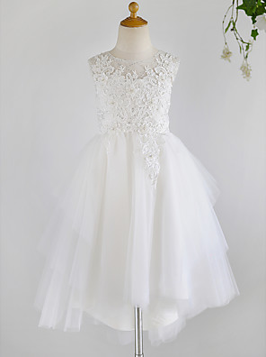 cheap Flower Girl Dresses-Ball Gown Asymmetrical Wedding / First Communion / Birthday Flower Girl Dresses - Lace / Tulle Sleeveless Jewel Neck with Beading