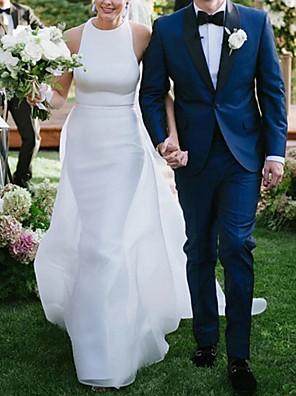 cheap Evening Dresses-A-Line Wedding Dresses Jewel Neck Sweep / Brush Train Satin Regular Straps Plus Size with 2020