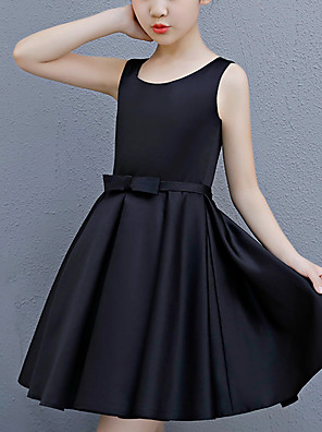 cheap Flower Girl Dresses-A-Line Round Neck Above Knee Satin Junior Bridesmaid Dress with Bow(s)