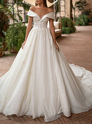 cheap Wedding Dresses-A-Line Wedding Dresses Off Shoulder Court Train Lace Tulle Short Sleeve Country Illusion Detail with Draping 2020