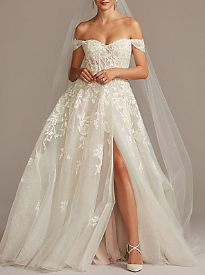 cheap Prom Dresses-A-Line Wedding Dresses Off Shoulder Sweep / Brush Train Tulle Short Sleeve Romantic Illusion Detail with Embroidery Split Front 2020