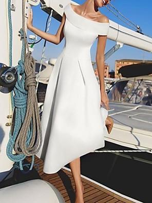 cheap Bridesmaid Dresses-A-Line Off Shoulder Asymmetrical Satin Bridesmaid Dress with Ruching