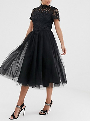 cheap Homecoming Dresses-A-Line Little Black Dress Party Wear Wedding Guest Cocktail Party Dress High Neck Short Sleeve Tea Length Lace Tulle with Pleats 2020
