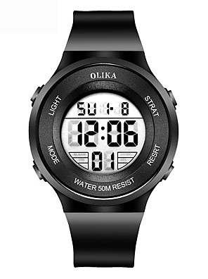 cheap Sport Watches-Men's Sport Watch Digital Modern Style Sporty Casual Water Resistant / Waterproof Stainless Steel Black Digital - Black Blue Pink Two Years Battery Life / Chronograph / Noctilucent
