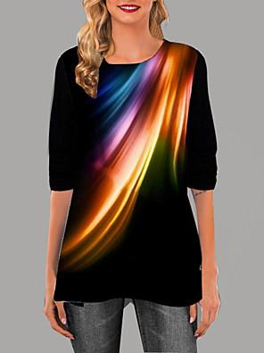 povoljno Bluza-Žene Geometrijski oblici Majica s rukavima Dnevno Crn / Blushing Pink / Sive boje