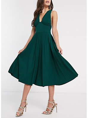 cheap Cocktail Dresses-A-Line Elegant Party Wear Wedding Guest Cocktail Party Dress Halter Neck Sleeveless Tea Length Cotton with Pleats 2020