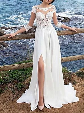 cheap Evening Dresses-A-Line Wedding Dresses Jewel Neck Sweep / Brush Train Chiffon Lace 3/4 Length Sleeve Boho Plus Size Illusion Sleeve with Split Front 2020