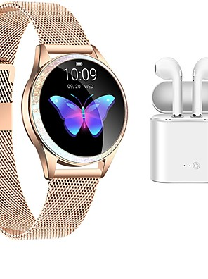 cheap Smart Watches-KW20 Stainless Steel Smartwatch Bluetooth Fitness Tracker with Wireless earphones for Samsung/ IOS/ Android Phones