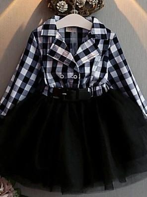 cheap Girls' Dresses-Kids Girls' Color Block Long Sleeve Above Knee Dress Black