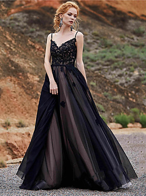 cheap Evening Dresses-A-Line Wedding Dresses Sweetheart Neckline Floor Length Lace Satin Tulle Spaghetti Strap Black Modern with Appliques 2020