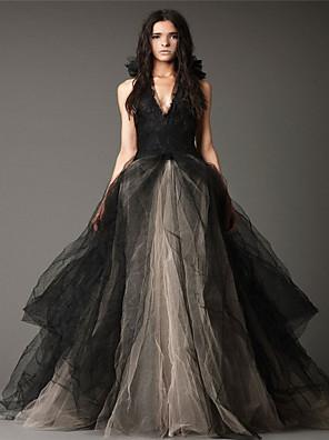 cheap Wedding Dresses-Ball Gown Wedding Dresses Halter Neck Floor Length Satin Tulle Regular Straps Black Modern with Appliques 2020