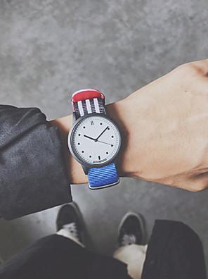 cheap Quartz Watches-Couple's Sport Watch Quartz New Arrival Chronograph Nylon Black / White / Blue Analog - White Black Red One Year Battery Life