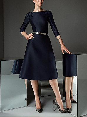cheap Cocktail Dresses-A-Line Elegant Party Wear Cocktail Party Dress Boat Neck 3/4 Length Sleeve Knee Length Satin with Sash / Ribbon Embroidery 2020