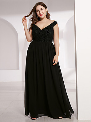 cheap Prom Dresses-A-Line Mother of the Bride Dress Plus Size Plunging Neck Floor Length Chiffon Short Sleeve with Lace 2020