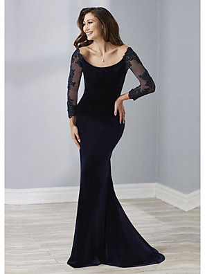 cheap Special Occasion Dresses-Sheath / Column Elegant Engagement Formal Evening Dress Scoop Neck 3/4 Length Sleeve Sweep / Brush Train Velvet with Beading 2020
