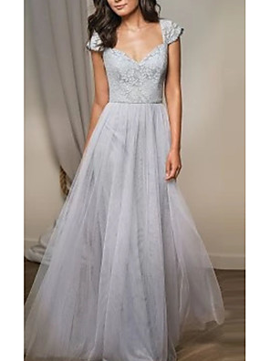 cheap Bridesmaid Dresses-A-Line Plunging Neck Floor Length Lace / Tulle Bridesmaid Dress with Pleats / Open Back