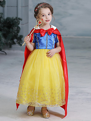 cheap Girls' Dresses-Snow White Princess Fairytale Dress Cosplay Costume Party Costume Flower Girl Dress Kid's Girls' A-Line Slip Dresses Mesh Christmas Halloween Carnival Festival / Holiday Tulle Polyster Yellow
