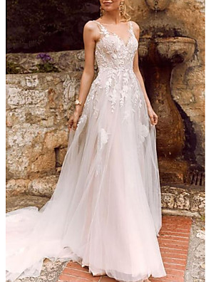 cheap Wedding Dresses-A-Line Wedding Dresses V Neck Court Train Chiffon Tulle Spaghetti Strap Illusion Detail with Lace Insert 2020