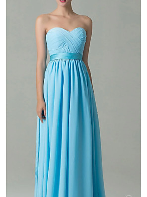 cheap Bridesmaid Dresses-A-Line Sweetheart Neckline Floor Length Chiffon Bridesmaid Dress with Ruching