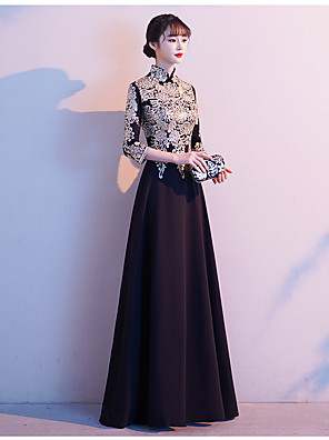 cheap Mother of the Bride Dresses-A-Line Mother of the Bride Dress Vintage High Neck Floor Length Satin 3/4 Length Sleeve with Embroidery 2020
