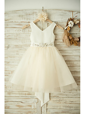 cheap Flower Girl Dresses-Ball Gown Knee Length Wedding / Birthday / Pageant Flower Girl Dresses - Satin / Tulle Sleeveless V Neck with Bows / Belt / Beading