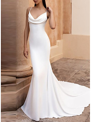 cheap Wedding Dresses-Mermaid / Trumpet Wedding Dresses V Neck Court Train Satin Spaghetti Strap Plus Size Elegant with Ruched 2020