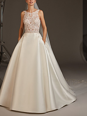 cheap Wedding Dresses-A-Line Wedding Dresses Jewel Neck Sweep / Brush Train Lace Satin Regular Straps Plus Size Modern with Buttons Lace Insert 2020