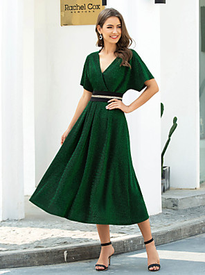 cheap Prom Dresses-A-Line Elegant Green Wedding Guest Cocktail Party Dress V Neck Short Sleeve Tea Length Nylon Spandex Polyester with Pleats Beading 2020