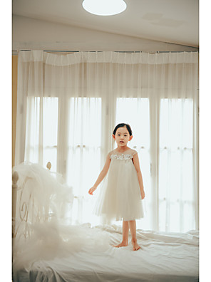 cheap Girls' Dresses-Princess / Ball Gown Knee Length Wedding / First Communion / Birthday Flower Girl Dresses - Tulle Sleeveless Jewel Neck with Buttons / Pearls / Appliques