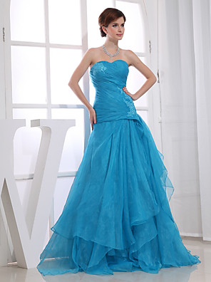 cheap Prom Dresses-A-Line Elegant Wedding Guest Engagement Prom Dress Sweetheart Neckline Sleeveless Floor Length Organza with Ruched Appliques 2020 / Formal Evening