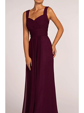 cheap Bridesmaid Dresses-A-Line Square Neck Floor Length Chiffon Bridesmaid Dress with Ruching