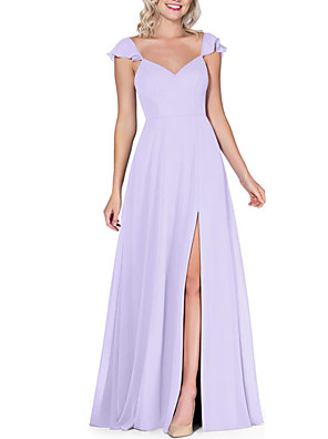 cheap Bridesmaid Dresses-A-Line Plunging Neck Floor Length Chiffon Bridesmaid Dress with Bow(s) / Split Front / Open Back