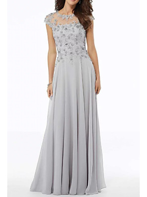 cheap Prom Dresses-A-Line Mother of the Bride Dress Elegant Jewel Neck Floor Length Chiffon Tulle Short Sleeve with Embroidery Appliques 2020