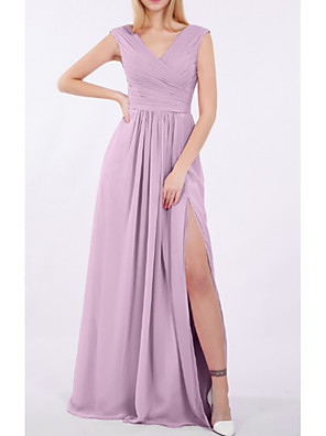cheap Evening Dresses-Sheath / Column V Neck Floor Length Chiffon Bridesmaid Dress with Sash / Ribbon / Split Front / Ruching