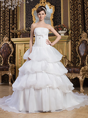 cheap Prom Dresses-Ball Gown Wedding Dresses Strapless Court Train Organza Satin Strapless with Pick Up Skirt Bow(s) 2020