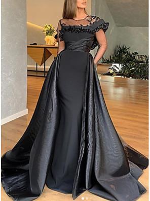 cheap Prom Dresses-A-Line Elegant Engagement Formal Evening Dress Jewel Neck Short Sleeve Sweep / Brush Train Satin with Ruffles 2020