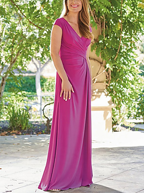cheap Prom Dresses-Sheath / Column Mother of the Bride Dress Elegant & Luxurious Plunging Neck Floor Length Satin Short Sleeve with Ruching 2020