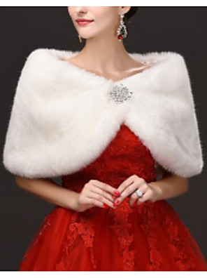 cheap Prom Dresses-Sleeveless Capelets Faux Fur Wedding Women's Wrap With Crystal Brooch