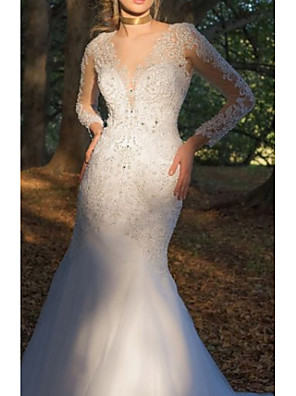 cheap Wedding Dresses-Mermaid / Trumpet Wedding Dresses V Neck Court Train Tulle Charmeuse Long Sleeve Formal Plus Size with Beading Lace Insert Appliques 2020