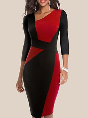 cheap Romantic Lace Dresses-Women's Bodycon Dress - 3/4 Length Sleeve Color Block Patchwork Deep V Elegant Sophisticated White Blue Red S M L XL XXL / Cotton