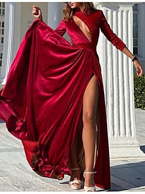 cheap Prom Dresses-A-Line Elegant Wedding Guest Engagement Formal Evening Dress Jewel Neck Long Sleeve Floor Length Charmeuse with Split Tier 2020