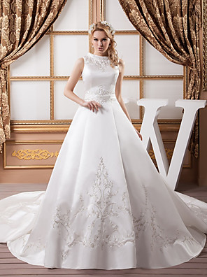 cheap Wedding Dresses-A-Line Wedding Dresses Jewel Neck Chapel Train Satin Regular Straps with Sashes / Ribbons Bow(s) Beading 2020 / Embroidery