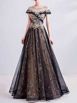 cheap Prom Dresses-A-Line Wedding Dresses Jewel Neck Sweep / Brush Train Lace Tulle Short Sleeve Formal Black with Lace Insert Appliques 2020