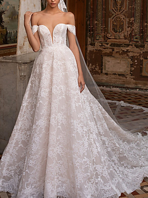 cheap Wedding Dresses-A-Line Wedding Dresses Off Shoulder Sweep / Brush Train Lace Short Sleeve Plus Size with Draping 2020