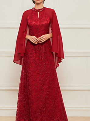 cheap Prom Dresses-A-Line Mother of the Bride Dress Elegant Jewel Neck Floor Length Chiffon Lace Charmeuse Short Sleeve with Lace Beading Appliques 2020